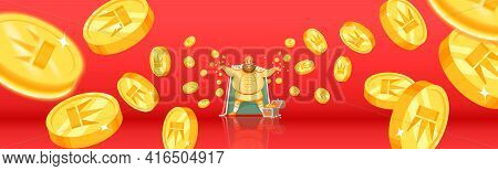 Fortune, Luck, Bingo Falling Coins, Falling Money, Flying Gold Coins, Golden Rain. Jackpot Or Succes