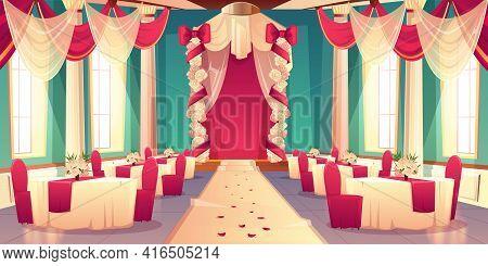 Banquet Hall, Ballroom In Castle Ready For Wedding Ceremony Cartoon Vector Interior Decorated Flower