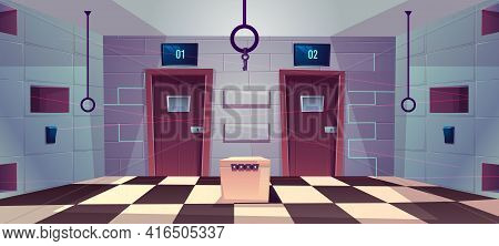 Vector Cartoon Background Of Quest Room With Closed Doors, Riddles And Puzzles For People. Stand Wit