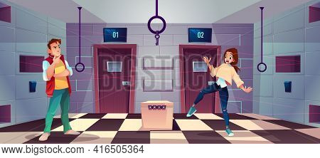 Vector Cartoon Background Of Quest Room With People - Guy And Girl Decide Riddles And Puzzles. Stand