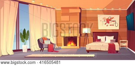 Vector Cartoon Interior Of Cozy Hotel Bedroom With Furniture - Double Bed, Carpet And Fireplace. Liv