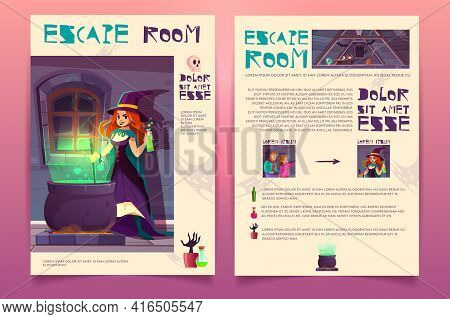 Vector Brochure Template With Escape Room From Witch House. Quest Game, Rpg Booklet For Players. Inf