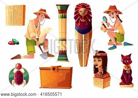 Vector Egyptian Cartoon Set - Paleontologist And Archeologist Characters, Pharaoh Sarcophagus And Sy