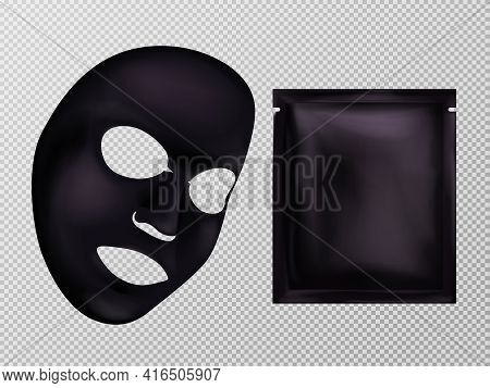 Vector 3d Realistic Black Sheet Facial Cosmetic Mask And Sachet. Skincare, Moisturizing Or Anti-agin