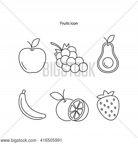 Fruit Icon Set Isolated On White Background. Fruit Icon Thin Line Outline Linear Fruit Symbol For Lo