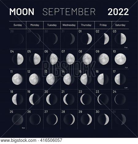 September Lunar Calendar 2022 Y Dark Sky Backdrop. Month Cycle Planner, Astrology Schedule Template,