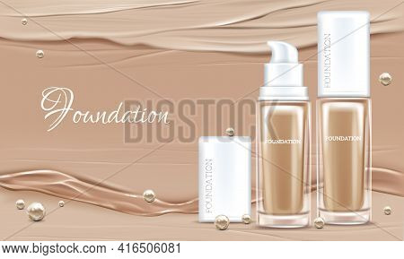 Vector 3d Realistic Poster With Concealer, Beige Cosmetics Product In Glass Package. Premium Foundat