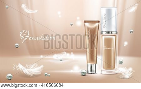 Vector 3d Realistic Poster With Concealer, Beige Cosmetics Product In Glass Package And Feathers. Li
