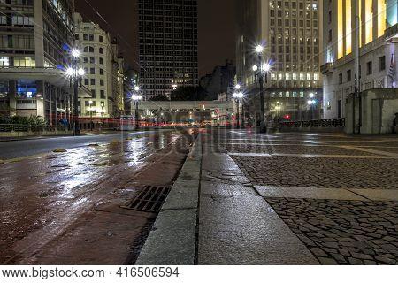 Night View Of The Cha Viaduct Bike Path On A Rainy Night, In Downtown Sao Paulo
