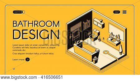 Home Construction Company, Interior Design Atelier, Plumbing Shop Isometric Vector Web Banner Or Lan