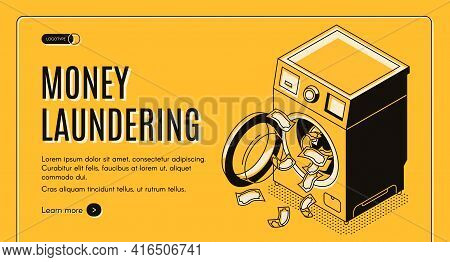 Money Laundering Isometric Vector Web Banner, Landing Page. Dirty Cash Received By Illegal Way Or Cr