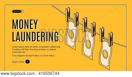 Money Laundering Machinations Isometric Vector Web Banner Or Landing Page Template. Washed And Clean