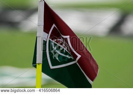 Rio, Brazil - April 11, 2021: Fluminense Flag In Match Between Flamengo V Nova Iguacu By Carioca Cha