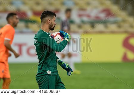 Rio, Brazil - April 11, 2021: Marcos Felipe Goalkeeper In Match Between Flamengo V Nova Iguacu By Ca