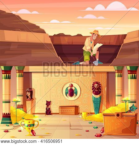Archeology Excavations, Treasure Hunting Cartoon Vector Concept With Archeologist Or Tomb Rider Watc