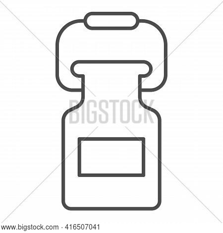Aluminum Barrel With Milk Thin Line Icon, Dairy Products Concept, Large Industrial Milk Can Sign On