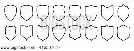 Shield Shape Black Icon Set. Security Minimal Sign Guard Line Heraldic Simple Symbol. Defense Outlin