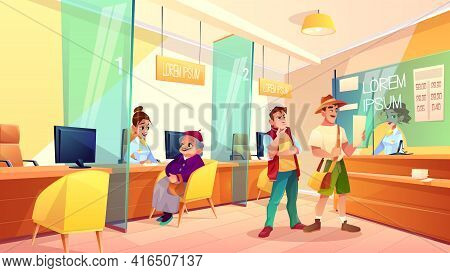 Bank Reception Area Cartoon Vector. Granny Talking With Financial Consultant, Clients Standing In Li