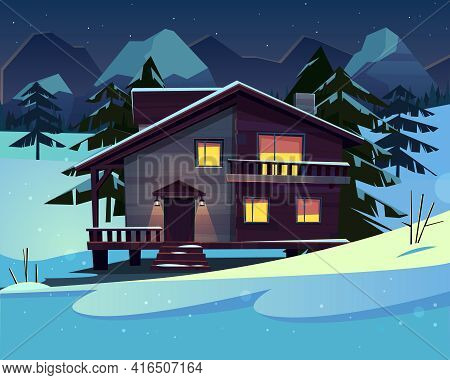 Vector Cartoon Background With A Luxury Hotel In Snowy Mountains At Night. Wooden Living Apartment,