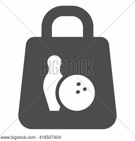 Paper Bag With Bowling Game Solid Icon, Bowling Concept, Shopping Bag Sign On White Background, Bowl