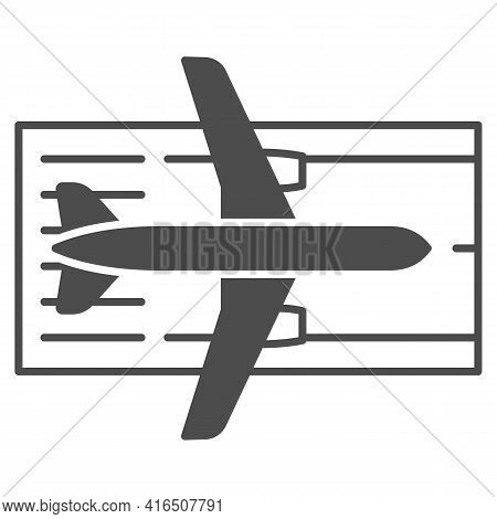 Airplane On The Runway Solid Icon, Airlines Concept, Runway Vector Sign On White Background, Airplan