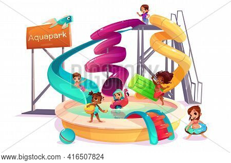 Multiethnic Boys And Girls Sliding Form Water Slide, Swimming With Inflatable Ring, Playing And Havi