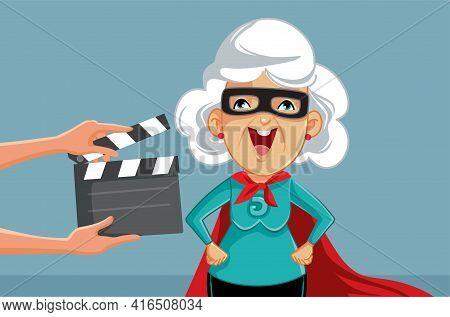 Senior Actress Filming Super Hero Movie Vector Illustration