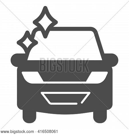 Clean Shiny Car Solid Icon, Car Washing Concept, Car Wash Sign On White Background, Perfectly Cleane