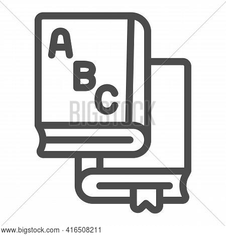 Books With Alphabet Line Icon, Children Book Day Concept, Alphabet Book Sign On White Background, Ab