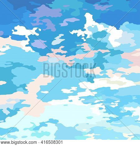Clouds Scenic Backdrop Blue-pink Gentle Morning Sunrise. Cartoon Sky And Clouds, Abstract Vector Sun