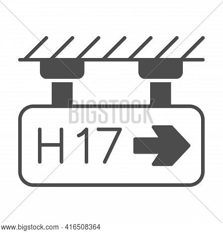 Direction Terminal H17 Solid Icon, Airlines Concept, Way To Terminal Vector Sign On White Background