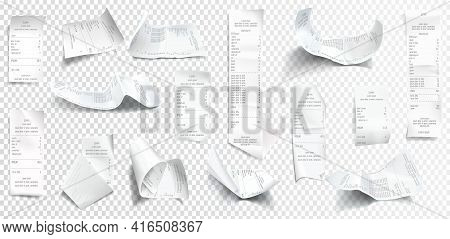 Vector Realistic Receipt Collection, White Paper With Payment Isolated On Transparent Background. Cr