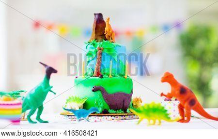 Kids Birthday Party. Dinosaur Theme Cake.