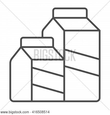 Paper Bags Of Dairy Products Thin Line Icon, Dairy Products Concept, Dairy Product Box Sign On White