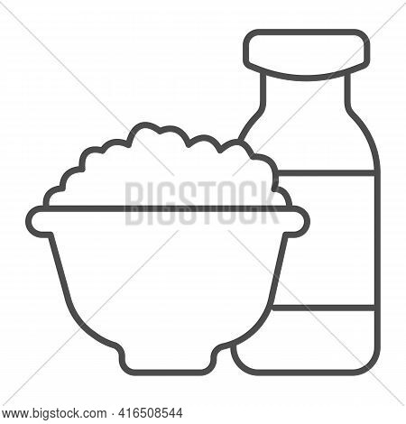 Bottle Of Milk And Plate Of Cheese Thin Line Icon, Dairy Products Concept, Milk Products Sign On Whi