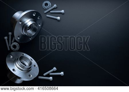 Spare Parts. Auto Motor Mechanic Spare Or Automotive Piece On Dark Background. Set Of New Metal Car