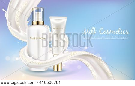 Vector Cosmetic Banner With Realistic White Bottle For Skin Care Cream Or Body Lotion. Beauty Produc