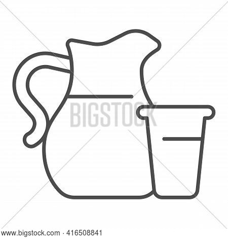 Glass And Jug Of Milk Thin Line Icon, Dairy Products Concept, Milk Jug With Glass Sign On White Back
