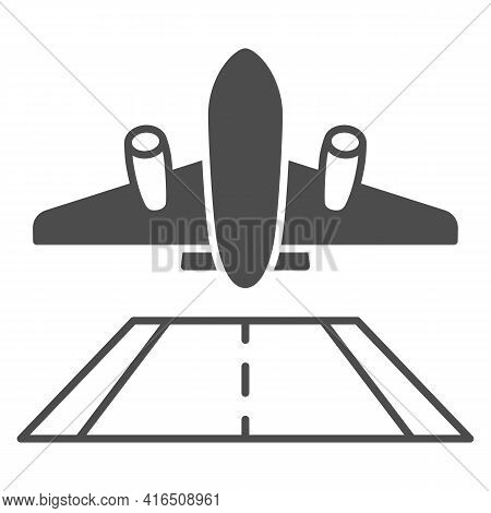 Airplane Take Off Solid Icon, Airlines Concept, Take Off Plane Vector Sign On White Background, Plan
