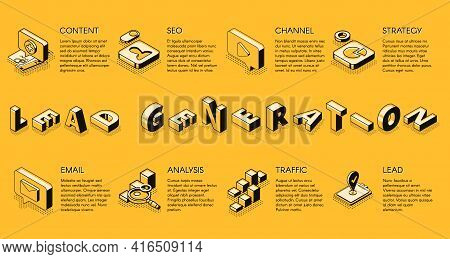 Lead Generation Internet Business Marketing Strategy Isometric Projection Vector Banner, Poster, Pre