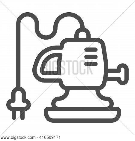 Car Polishing Machine Line Icon, Car Washing Concept, Powerful Electric Air Blower Sign On White Bac