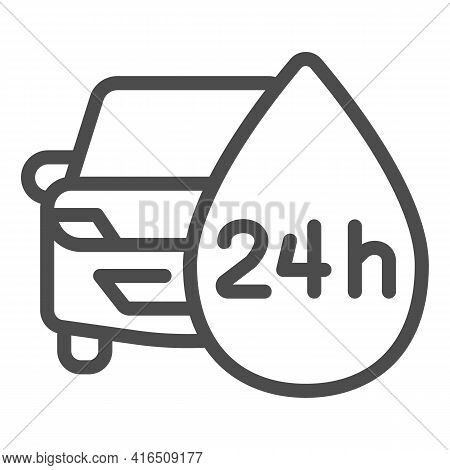 Round-the-clock Car Wash Line Icon, Car Washing Concept, Wash Service Sign On White Background, Auto