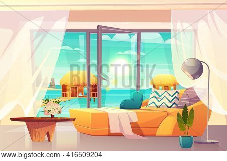 Tropical Resort Hotel Room, Luxury Apartments On Ocean Shore Interior Cartoon Vector With Comfortabl