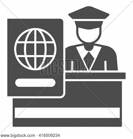 Customs Officer Solid Icon, Airlines Concept, Customs Control Vector Sign On White Background, Custo