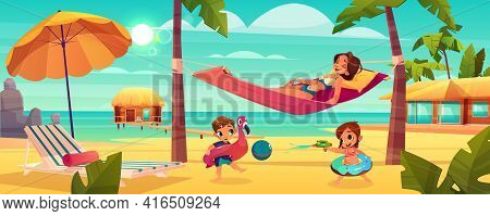 Family Vacation On Tropical Resort Cartoon Vector With Happy Mother Relaxing, Lying In Hammock Betwe