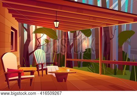 Country Or Village House In Forest With Wooden Coffee Table And Comfortable, Soft Armchairs On Roofe