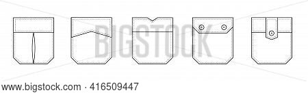 Patch Pocket. Set Of Uniform Patch Pockets Shapes For Clothes, Dress, Shirt, Casual Denim Style. Iso