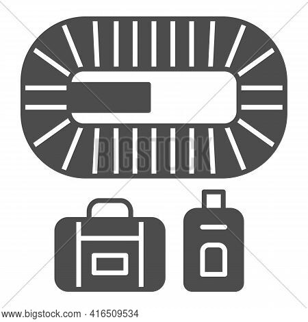 Airport Conveyor Belt Solid Icon, Airlines Concept, Conveyor Belt Vector Sign On White Background, C