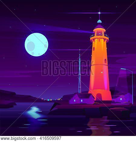 Lighthouse Working, Glowing At Night On Seashore Cartoon Vector. Village Cottage Houses On Coast, Ra