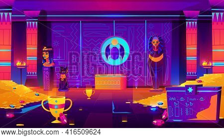Egypt Pharaoh Tomb, Treasury Full Of Gold Coins, Precious Gems And Ancient Artifacts Cartoon Vector